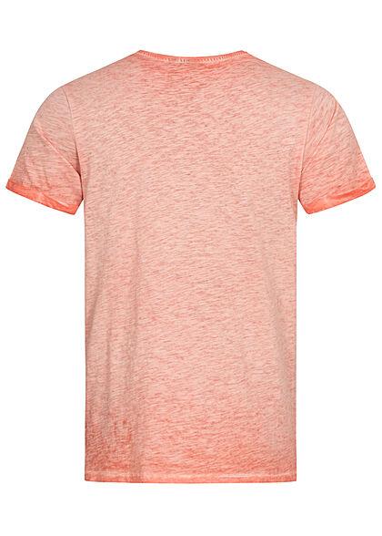 Eight2Nine Herren T-Shirt Mini Logo Print hot coral orange rot