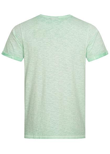 Eight2Nine Herren T-Shirt Mini Logo Print diving türkis