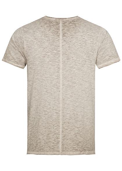 Eight2Nine Herren T-Shirt Brusttasche birch beige dunkel grau