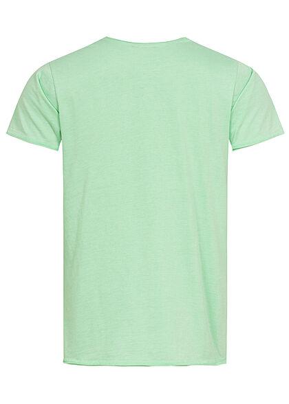 Stitch & Soul Herren T-Shirt Summer Times Palmen Print diving türkis