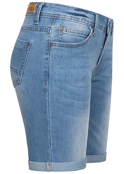 Hailys Damen Bermuda Shorts Beinumschlag 5-Pockets hell blau denim