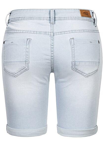 Hailys Damen Bermuda Jeans Shorts Beinumschlag 5-Pockets hell hell blau denim