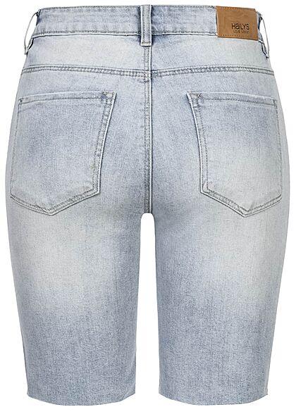 Hailys Damen Bermuda Jeans Shorts Destroy Look offener Saum 5-Pockets hell blau denim