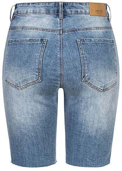 Hailys Damen Bermuda Jeans Shorts Destroy Look offener Saum 5-Pockets blau denim