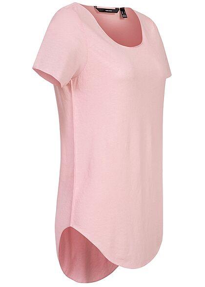 Vero Moda Damen Basic T-Shirt runder Saum roseate spoonbill rosa