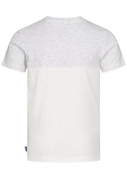 Jack and Jones Junior T-Shirt Brusttasche Tropical Print cloud dancer weiss
