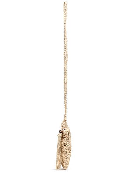 Styleboom Fashion Damen runde Bast Handtasche ca. 25x25cm Zipper off weiss beige