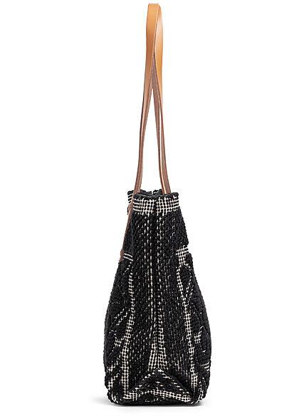 Styleboom Fashion Damen Struktur Handtasche ca. 24x35cm schwarz
