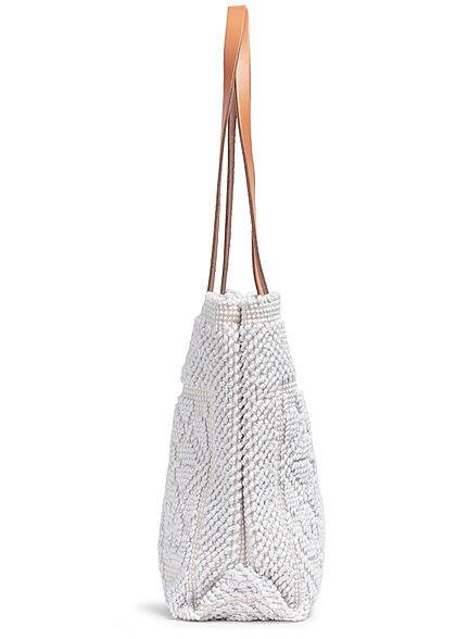 Styleboom Fashion Damen Struktur Handtasche ca. 24x35cm weiss