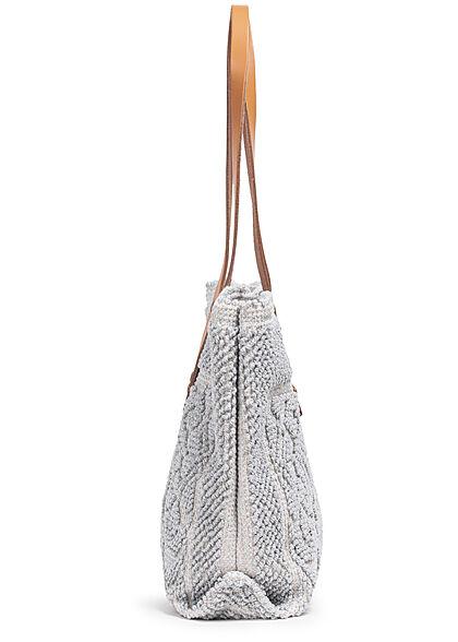 Styleboom Fashion Damen Struktur Handtasche ca. 24x35cm grau