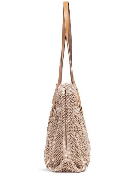 Styleboom Fashion Damen Struktur Handtasche ca. 24x35cm dunkel beige