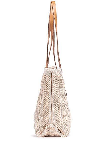 Styleboom Fashion Damen Struktur Handtasche ca. 24x35cm hell beige