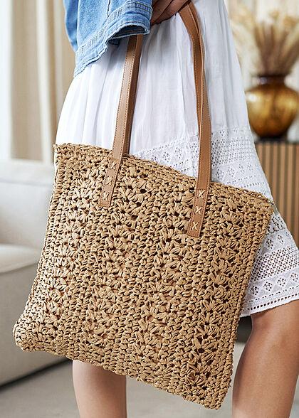 Styleboom Fashion Damen Basttasche Shopper ca. 38x34cm Zipper dunkel beige