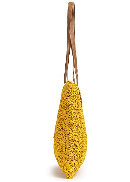 Styleboom Fashion Damen Basttasche Shopper ca. 38x34cm Zipper gelb