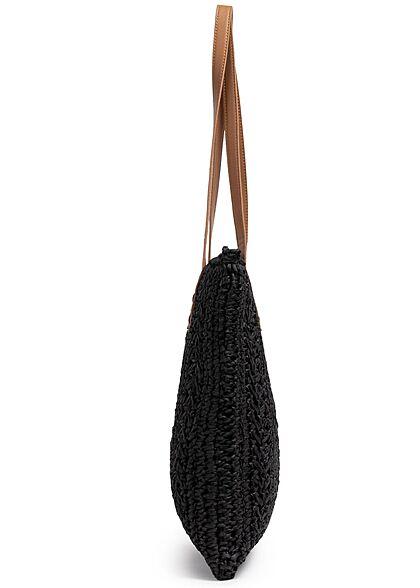 Styleboom Fashion Damen Basttasche Shopper ca. 38x34cm Zipper schwarz