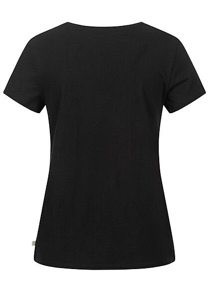 Tom Tailor Damen V-Neck T-Shirt Mini Summer Print deep schwarz