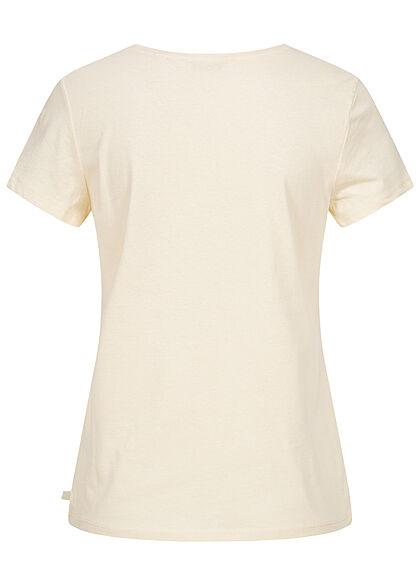 Tom Tailor Damen V-Neck T-Shirt Mini Summer Print soft creme beige