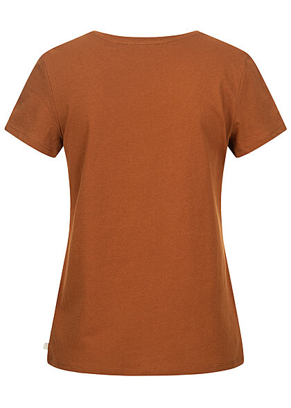 Tom Tailor Damen V-Neck T-Shirt Mini Summer Print amber braun