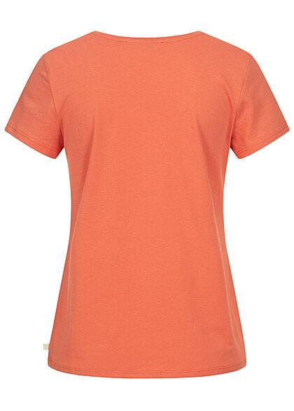 Tom Tailor Damen V-Neck T-Shirt Mini Summer Print sundown coral orange