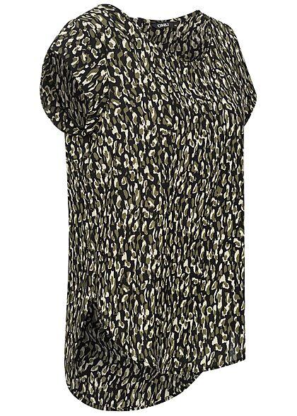ONLY Damen NOOS Blusen Top Blumen Print Vokuhila Zipper Grafik Muster schwarz