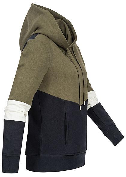 ONLY Damen 3-Tone Colorblock Sweat Hoodie Kapuze Tunnelzug kalamata oliv grün weiss navy