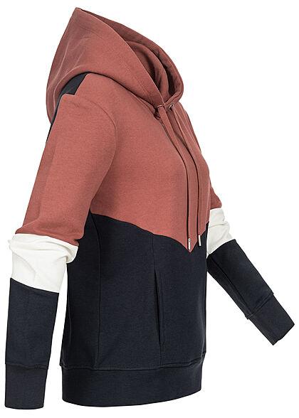 ONLY Damen 3-Tone Colorblock Sweat Hoodie Kapuze Tunnelzug apple butter rot weiss navy