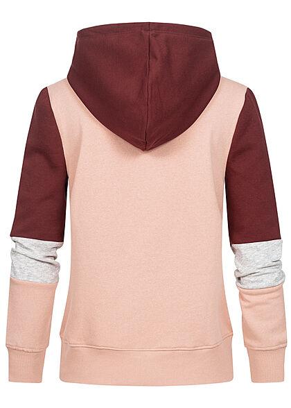 ONLY Damen 3-Tone Colorblock Sweat Hoodie Kapuze Tunnelzug chocolate truffle bordeaux rot