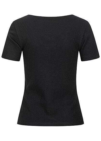 Vero Moda Damen NOOS Ribbed T-Shirt Deko Knopfleiste schwarz