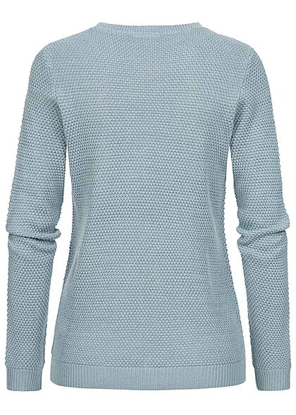 VILA Damen NOOS Struktur Strickpullover Sweater ashley blau