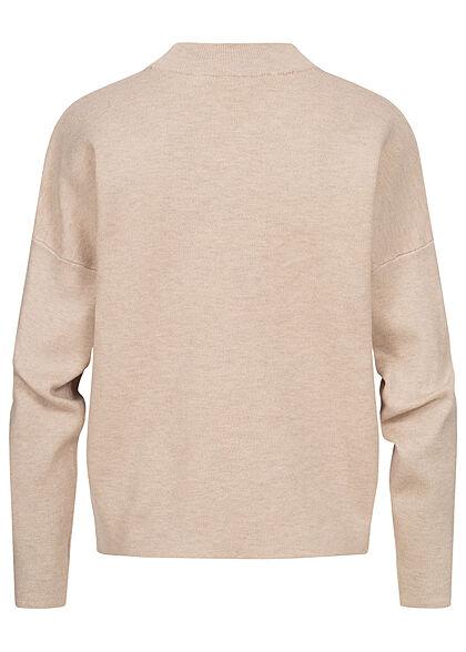 VILA Damen NOOS High-Neck Oversize Strickpullover Sweater natural beige
