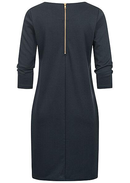 VILA Damen NOOS 3/4 Arm Kleid Zipper hinten total eclipse navy