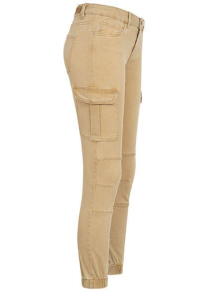 ONLY Damen NOOS Ankle Cargo Jeans 6-Pockets Regular Waist nomad beige