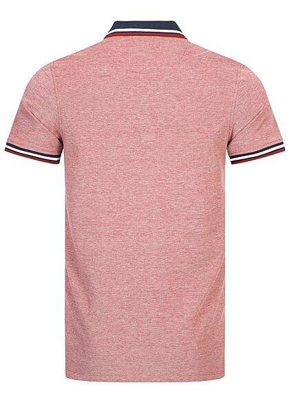 Jack and Jones Herren NOOS Polo T-Shirt Kragen Streifen rio rot rosa