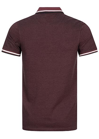 Jack and Jones Herren NOOS Polo T-Shirt Kragen Streifen port royale bordeaux rot