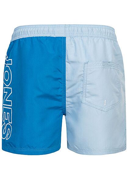 Jack and Jones Herren Swim Shorts Tunnelzug Logo Print Colorblock deep water blau