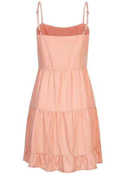 ONLY Damen Lyocell Trägerkleid Stufenoptik peach melba orange