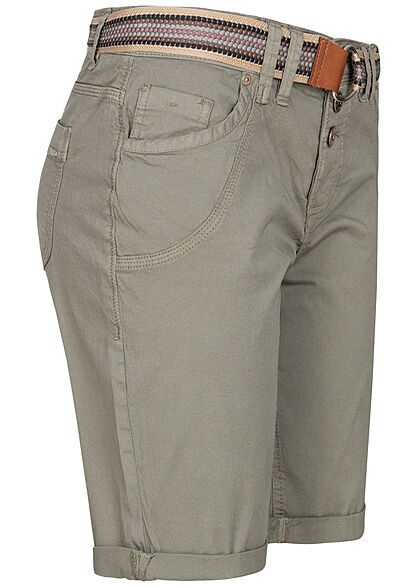 Urban Surface Damen Bermuda Shorts Knopfleiste ink. Gürtel 5-Pockets washed oliv grün