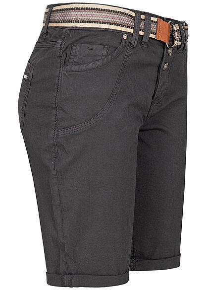 Urban Surface Damen Bermuda Shorts Knopfleiste ink. Gürtel 5-Pockets anthrazit grau