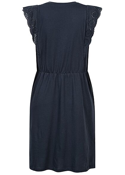 Vero Moda Damen Mini Kleid Häkelbesatz Ärmel Tunnelzug navy blazer blau