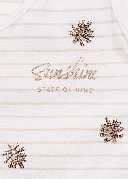 ONLY Damen Tank Top Sunshine Pailletten Print Streifen Muster bright weiss