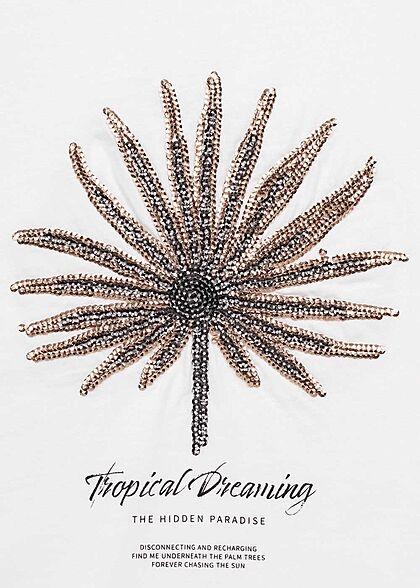 ONLY Damen Tank Top Tropical Blumen Pailletten Print bright weiss