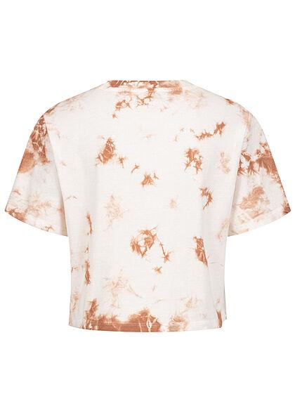 ONLY Damen Cropped T-Shirt Tie Dye Farbverlauf Print cloud dancer weiss apple butter