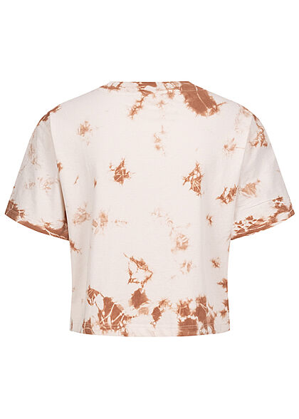 ONLY Damen Cropped T-Shirt Tie Dye Farbverlauf Print pumice stone beige braun