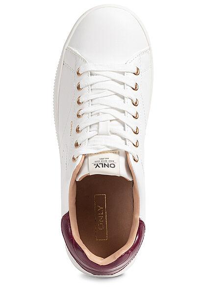 ONLY Damen Schuh Kunstleder Sneaker 2-Tone weiss burgundy bordeaux rot
