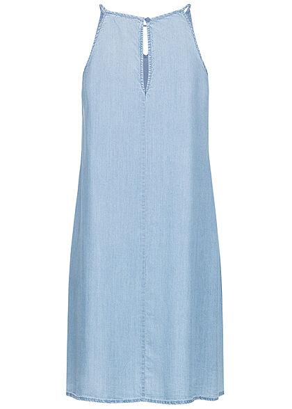 Tom Tailor Damen V-Neck Mini Kleid Cut Out Ausschnitt bright stone hell blau denim