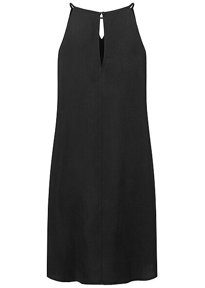 Tom Tailor Damen V-Neck Mini Kleid Cut Out Ausschnitt washed schwarz