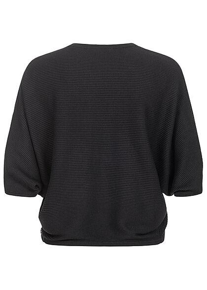 Tom Tailor Damen 1/2-Arm kurzer Bolero Cardigan offener Schnitt tief schwarz