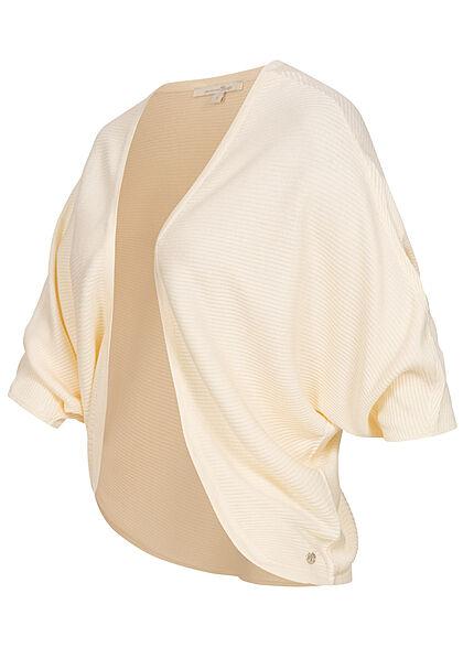 Tom Tailor Damen 1/2-Arm kurzer Bolero Cardigan offener Schnitt soft creme beige