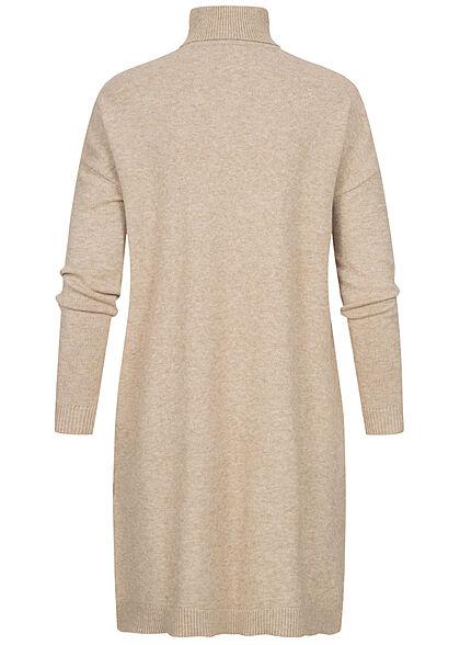 VILA Damen NOOS Rollkragen Longform Strickpullover Kleid natural beige melange