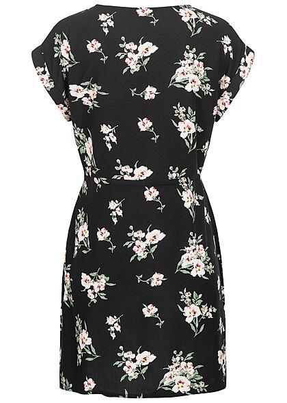 Vero Moda Damen NOOS Mini Kleid Tunnelzug Blumen Muster schwarz